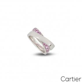 Cartier 18k White Gold Paris Nouvelle Vague Pink Sapphire Ring Size 49